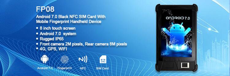 FP08 Android 7.0 Black Tablet NFC SIM Card With Mobile Fingerprint Handheld Device