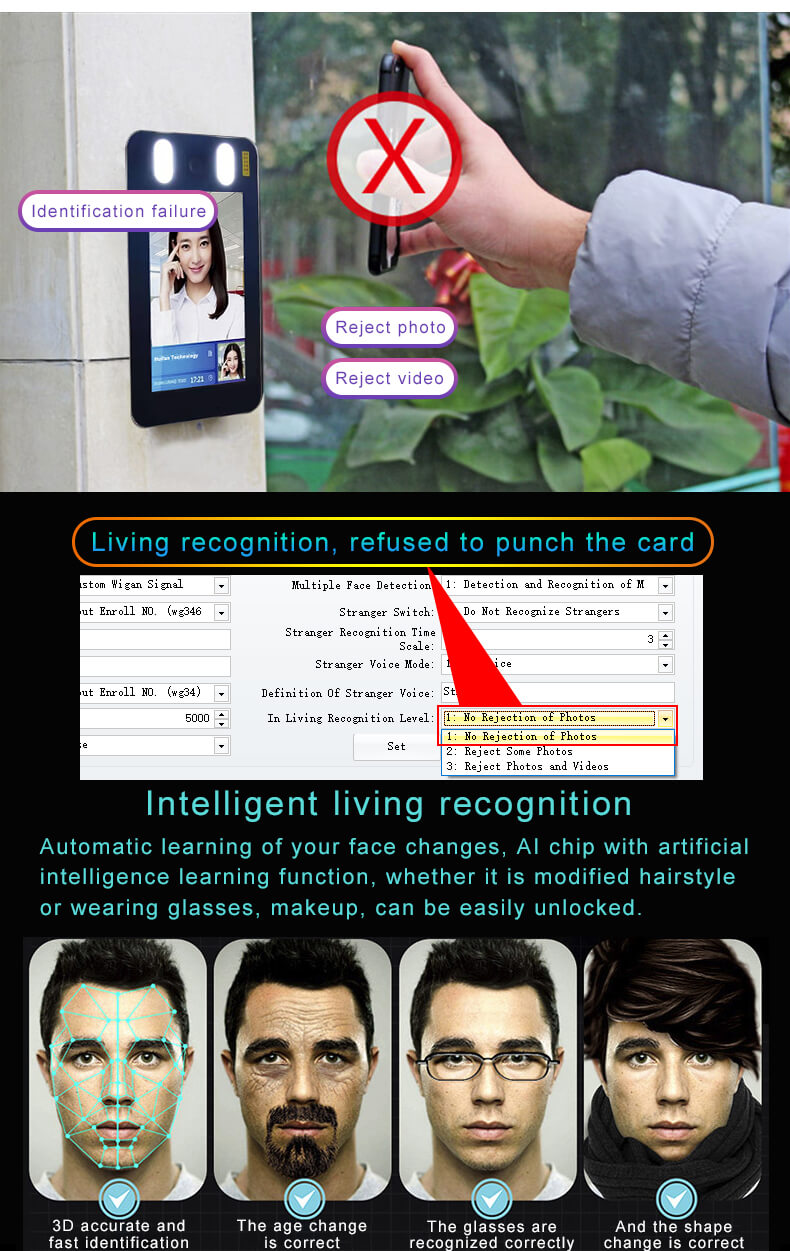 live detection face time access control china factory