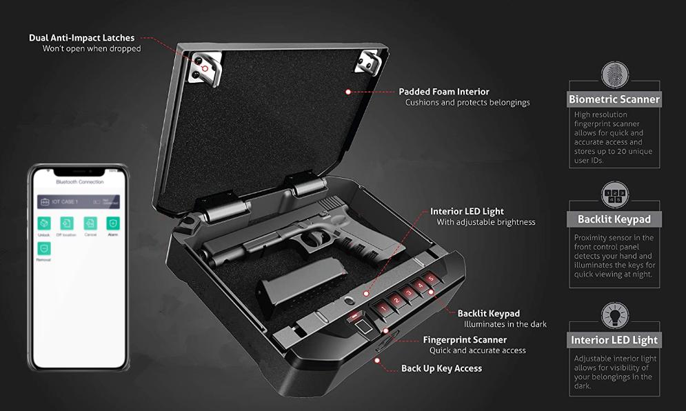 HP400 Smart Bluetooth  Fingerprint Gun Safe Box