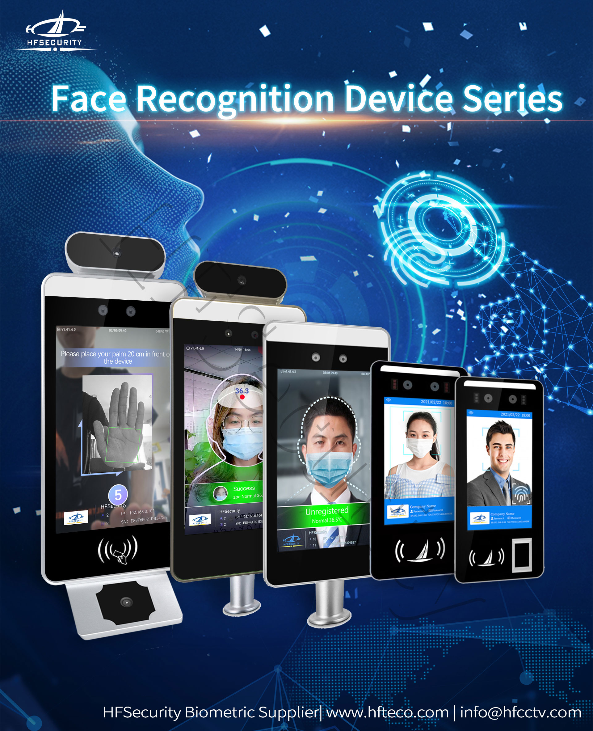 HFSecurity Face Recognition Time Clock Device