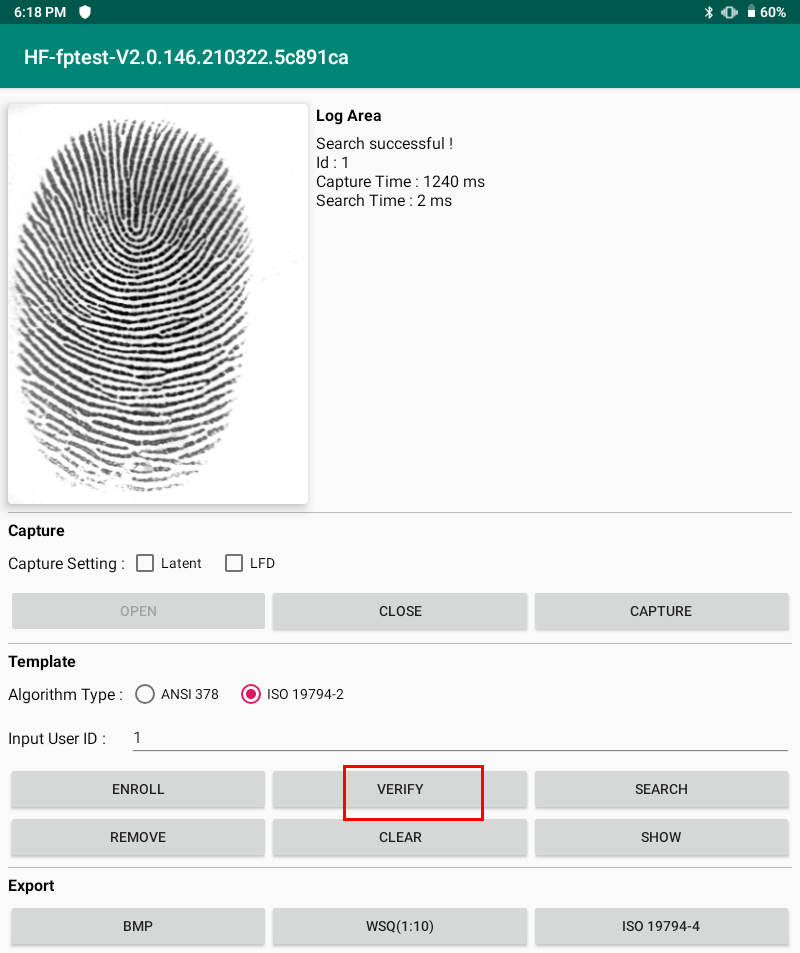 HFSecurity FAP20 FBI Cerificated Fingerprint Scanner Android Demo