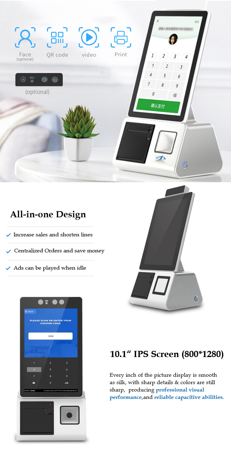 10.1inch capacitive touch screen interactive restaurant self service ordering kiosk payment machine