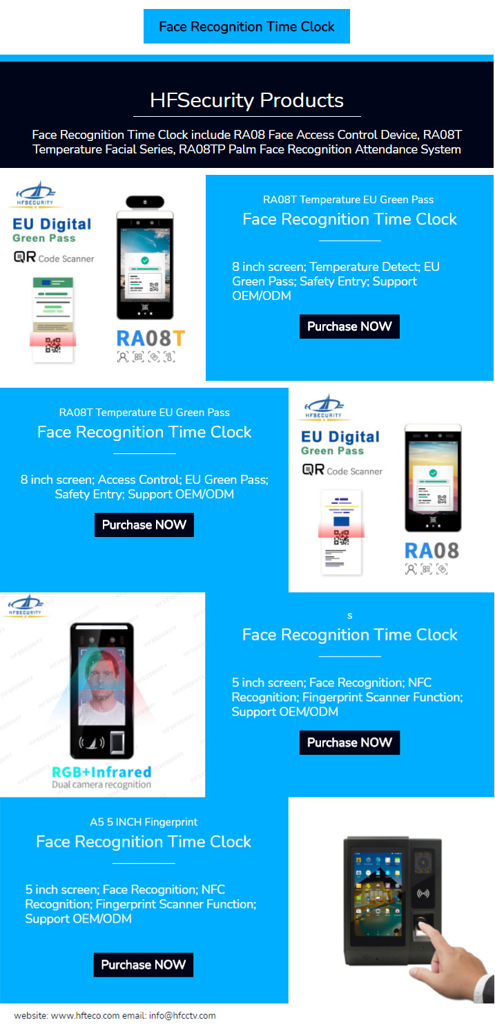 Face Recognition Time Clock System Products Series
