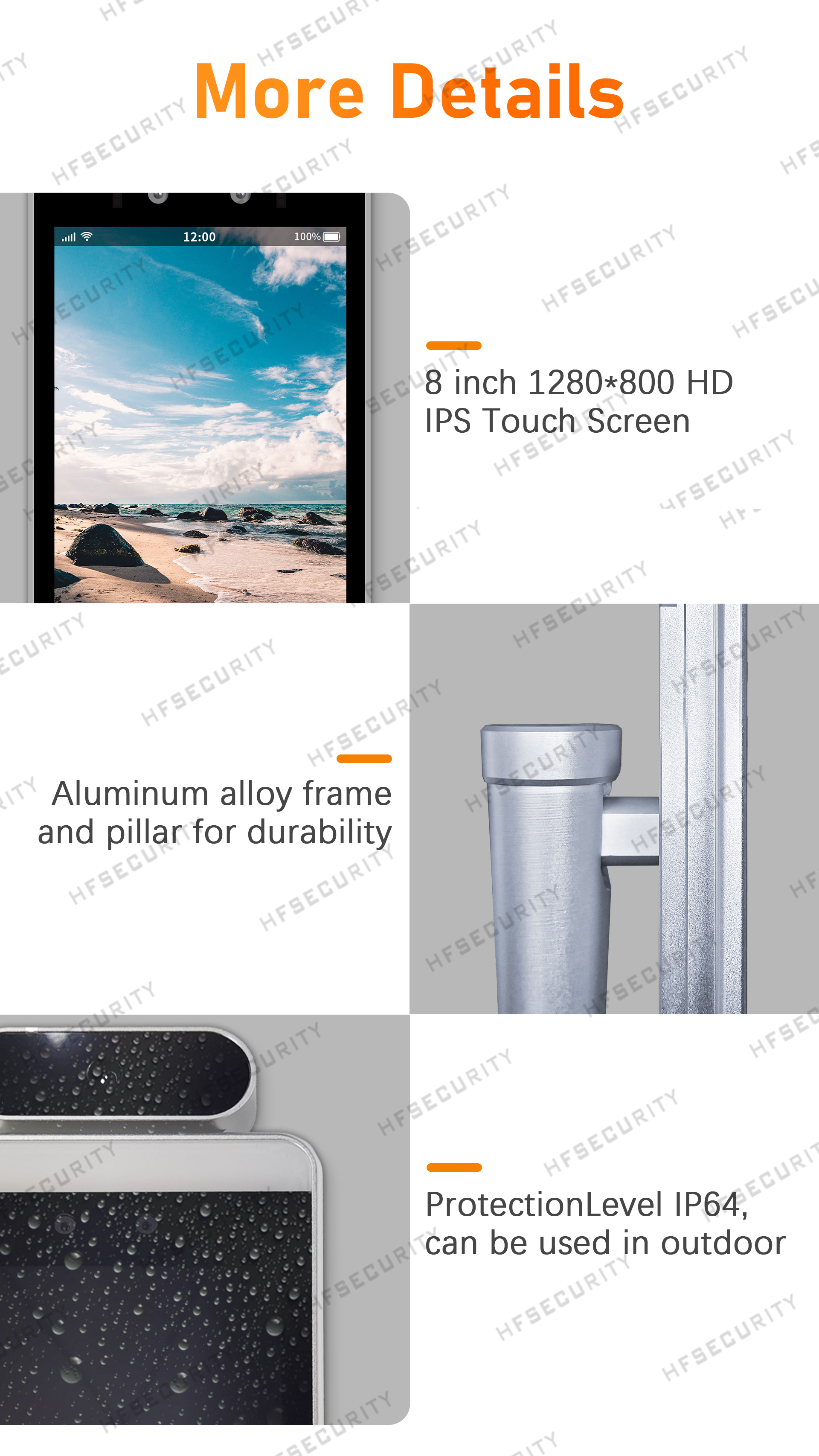 HFSecurity RA08T 8 INCH fingerprint face recognition device