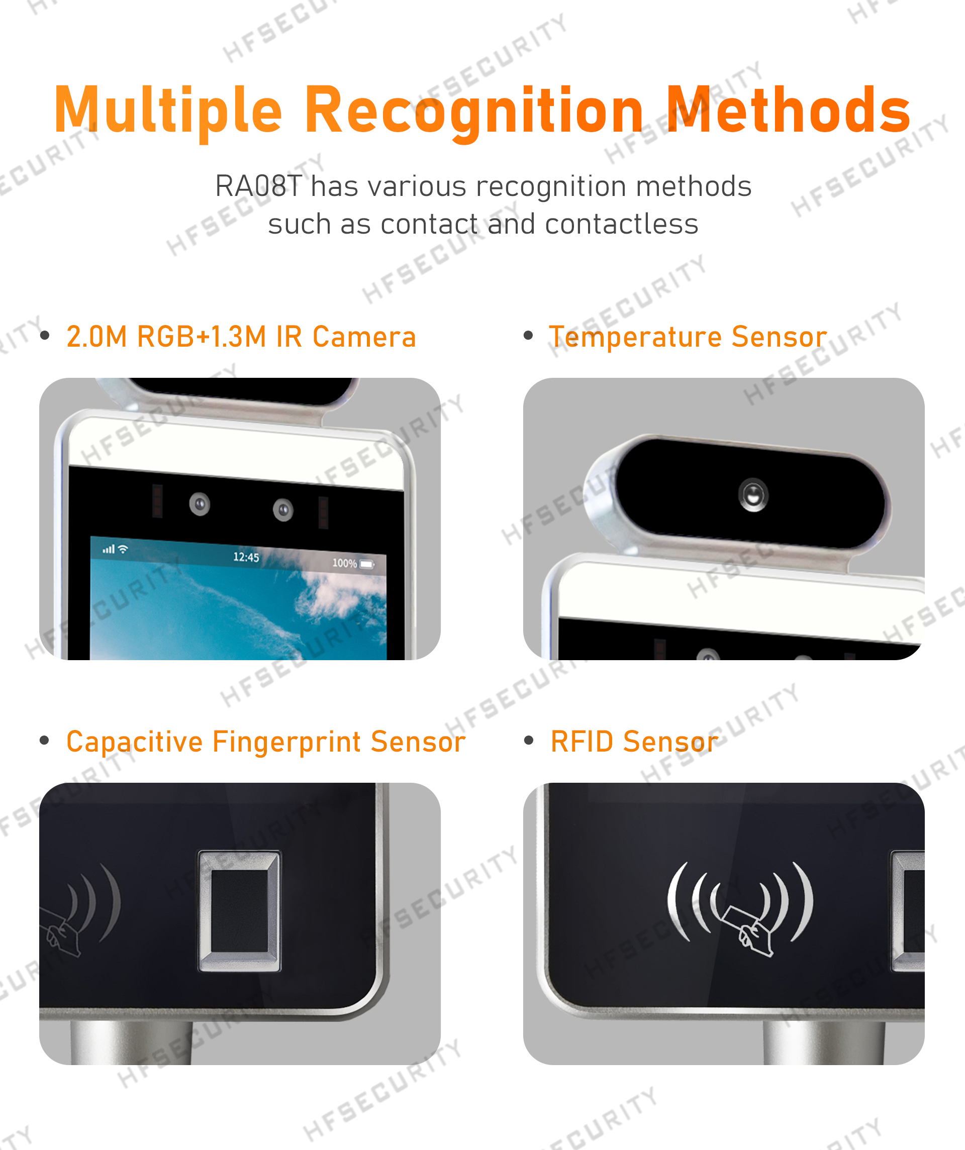 HFSecurity RA08T 8inch face recognition fingerprint device