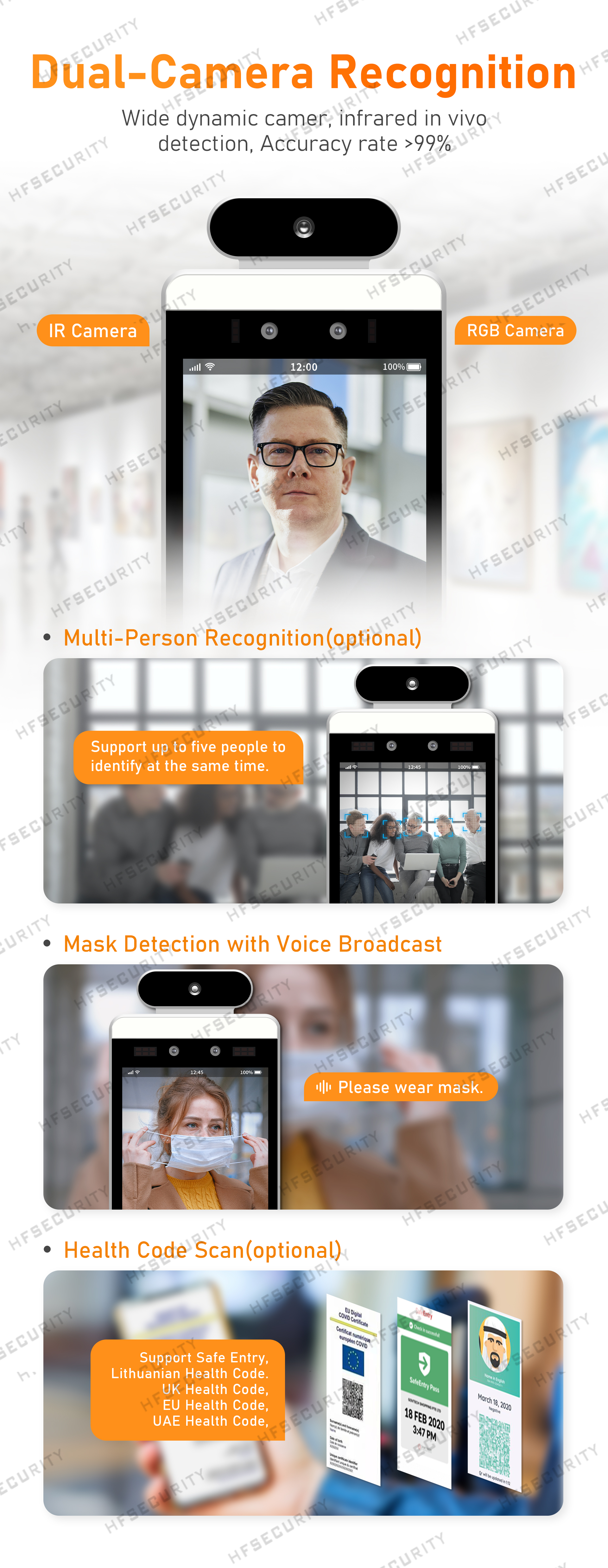 HFSecurity RA08T 8inch Face Fingerprint Recognition Device