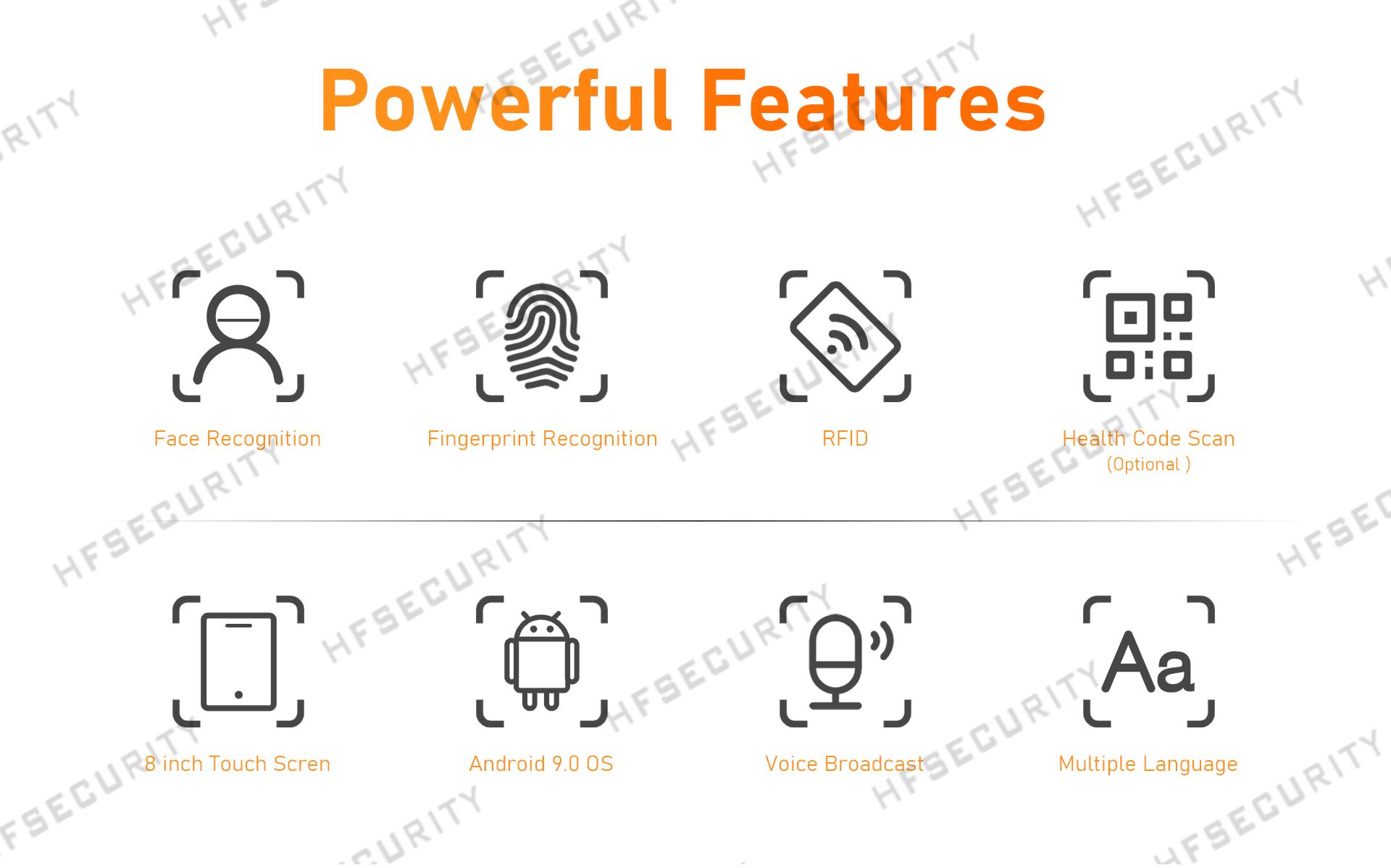 HFSecurity 8 inch Fingerprint Face Recognition Device