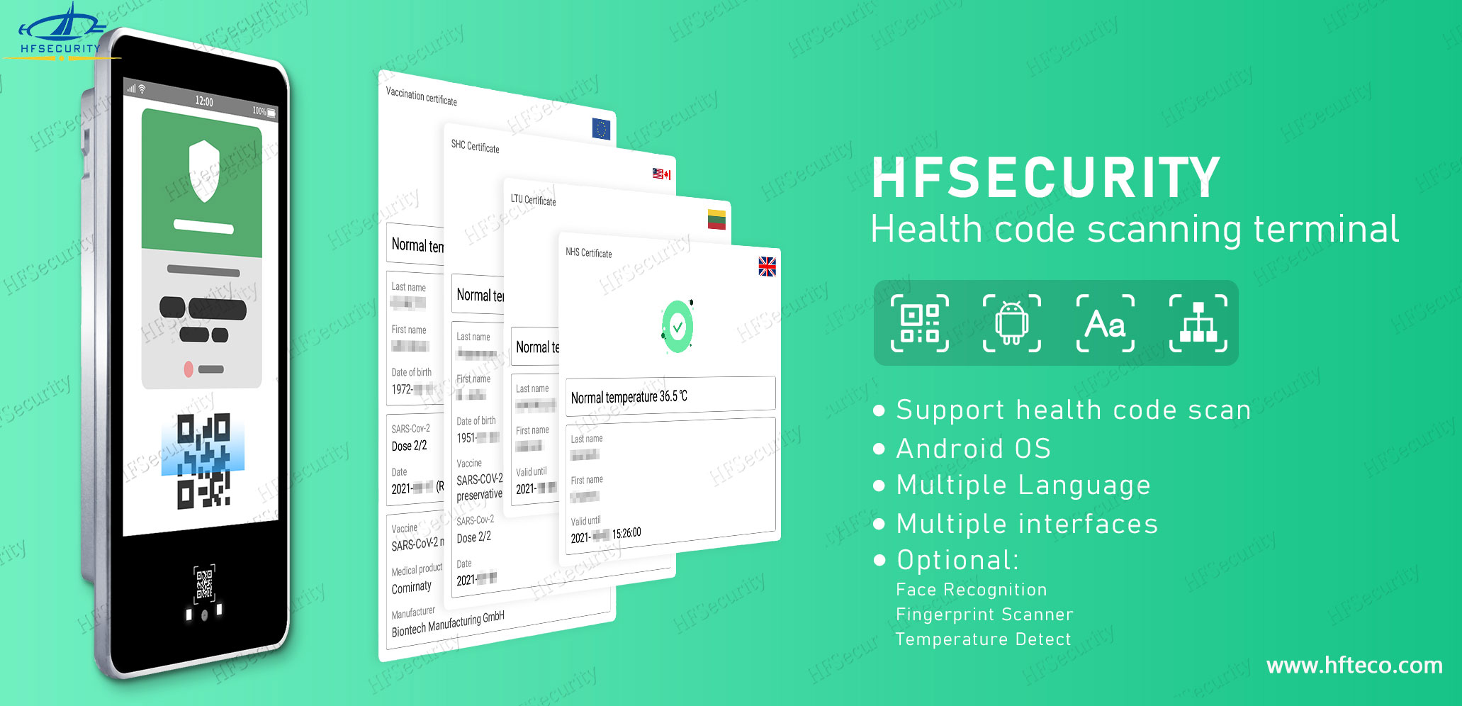 HFSecurity Facial Recognition Clock System with Temperature Detection