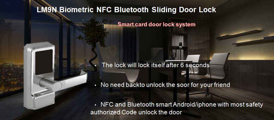 LM9N Biometric NFC Bluetooth Sliding Door Lock